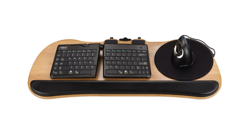 The Large Bamboo Keyboard Tray by UPLIFT Desk blends sustainability and style