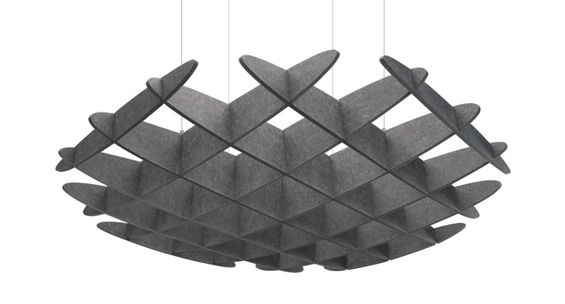 The 3D Acoustic Ceiling Waffle Cloud, Large by UPLIFT Desk hangs in work areas, break rooms, and any type of room that needs better sound absorption