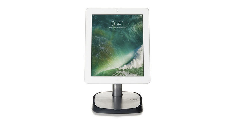 The InVue Tablet Stand features a detachable handle and black base.