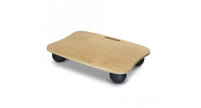 The LifeSpan AirSoft Balance Board features a birch wood top with four rubber feet.