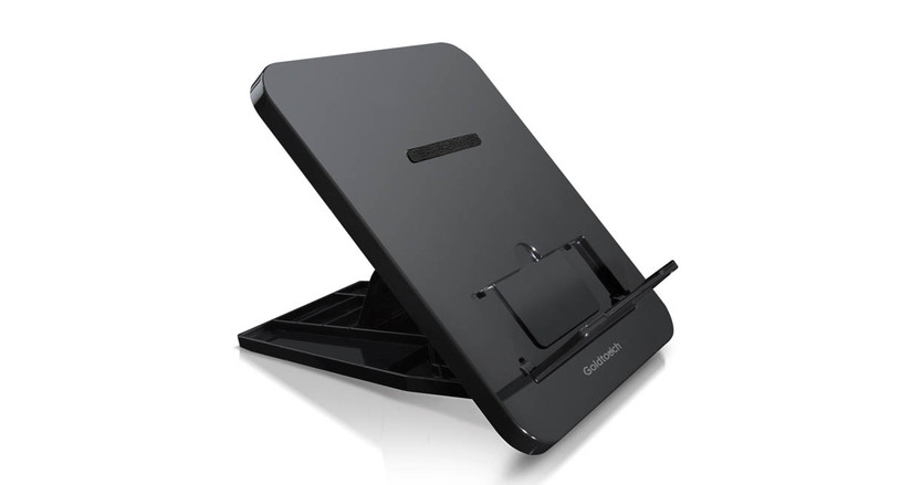 The Goldtouch Go! Travel Notebook and Tablet Stand's resin construction offers improved durability over materials