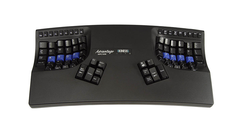 The Kinesis Advantage2 Contoured USB Keyboard for PC and Mac's concave key wells reduce hand and finger extension