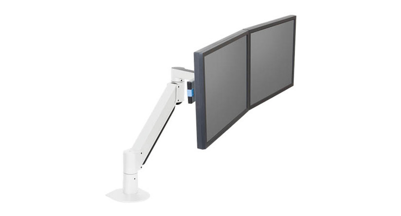 Monitors can rotate independently on the Innovative 7500 Wing Dual LCD Arm
