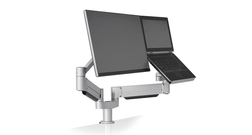 Two independent, articulating arms - one for your monitor and one for your laptop