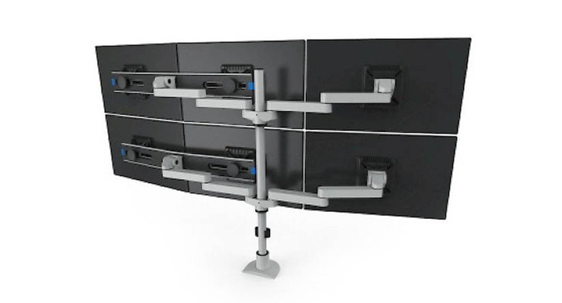 Monitors can be positioned both horizontally and vertically and pivot independently for viewing in landscape or portrait modes