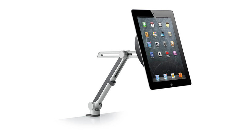 Disc mount attaches to any tablet or tablet case with a residue-free gel adhesive for one-handed attach and release