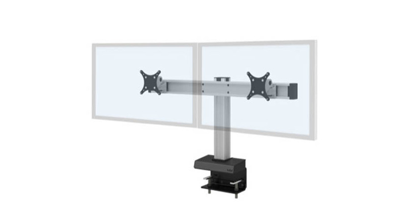 Mounts 2 to 16 monitors on a hefty system of joints and beams while maintaining a clean look