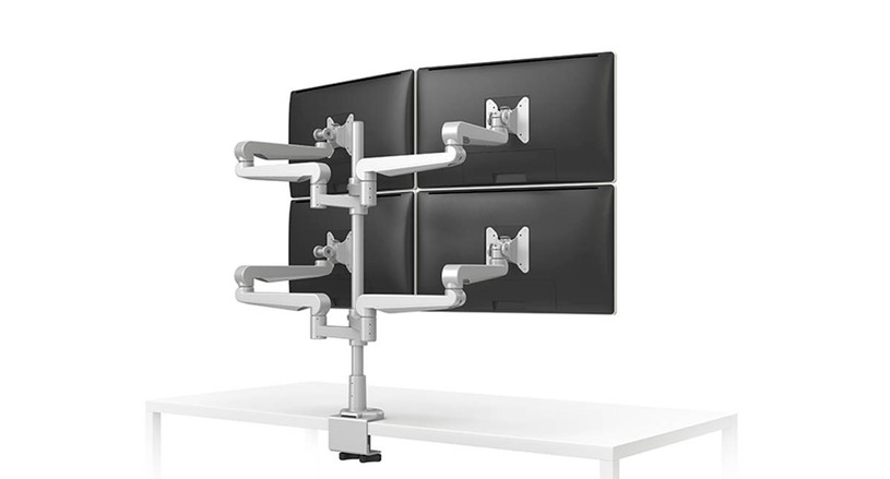 Independent monitor arm links allow for quick adjustment of displays