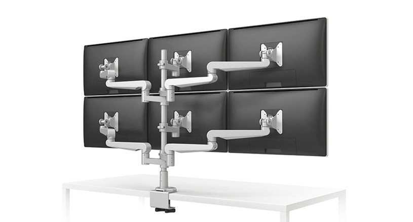 6 individual arms allow for independent adjustment of each monitor