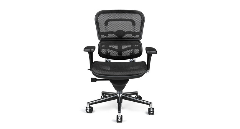The Raynor Ergohuman Mesh Chair 's pneumatic cylinder smoothly raises and lowers chair