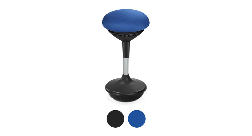 The UPLIFT Motions Stool comes in both black and blue color fabric options
