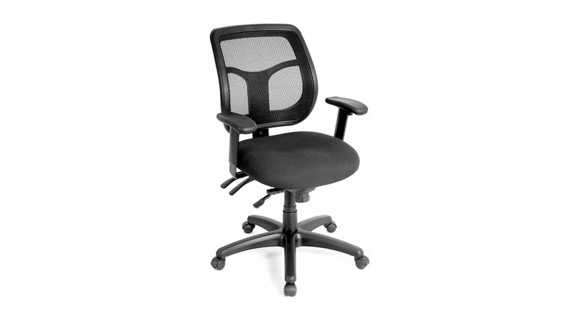 Synchro-tilt angles the back and seat tilt together in a preset ratio on the Raynor Apollo Multi-function Ergonomic Task Chair