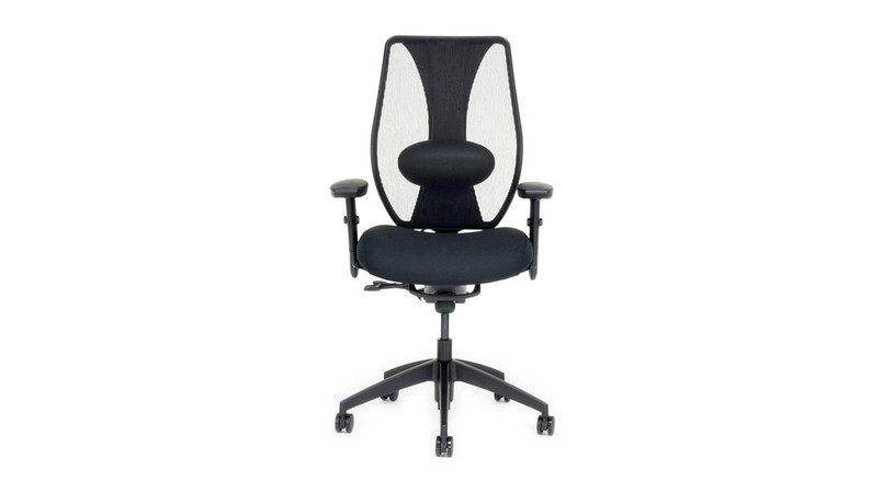 The ergoCentric tCentric Hybrid Chair features CooltoTouch leather that improves breathability