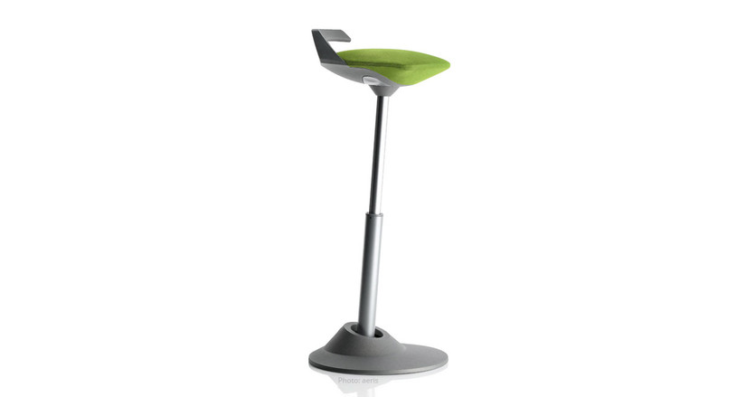 The Muvman Sit-Stand Stool's non-slip base with Flexzone joint technology allows for stable and intuitive movement