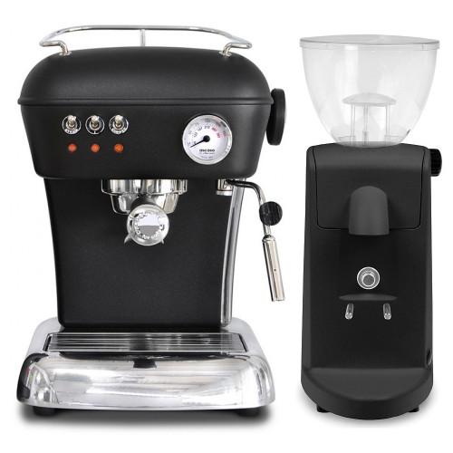 ASCASO Dream Espresso Coffee Machine and I-Mini Grinder Matte Dark Black Combo