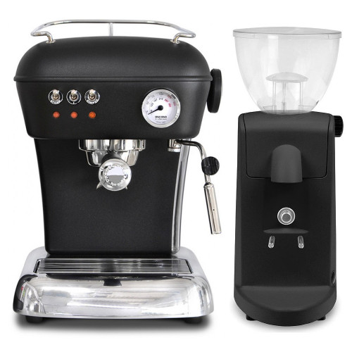 ASCASO Dream Espresso Coffee Machine and I-Mini Grinder Matte Dark Black Combo