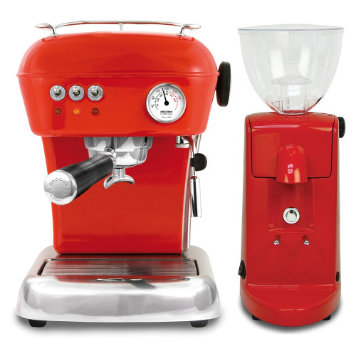 ASCASO Dream Espresso Coffee Machine and I-Mini Grinder Gloss Red Combo