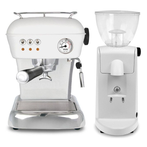 ASCASO Dream Espresso Coffee Machine and I-Mini Grinder Matte Cloud White Combo