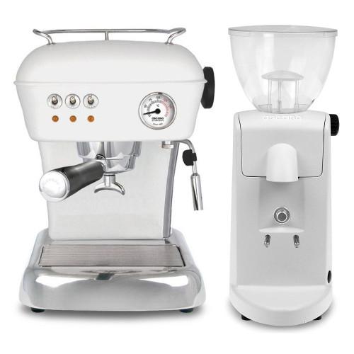 ASCASO Dream Espresso Coffee Machine and I-Mini Grinder Matte Cloud White Combo