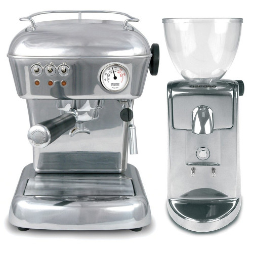 ASCASO Dream Espresso Coffee Machine and I-Mini Grinder Polished Aluminium Combo