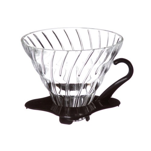 Hario V60 Coffee Dripper 02 Tempered Glass - Black Handle 1-4 Cup
