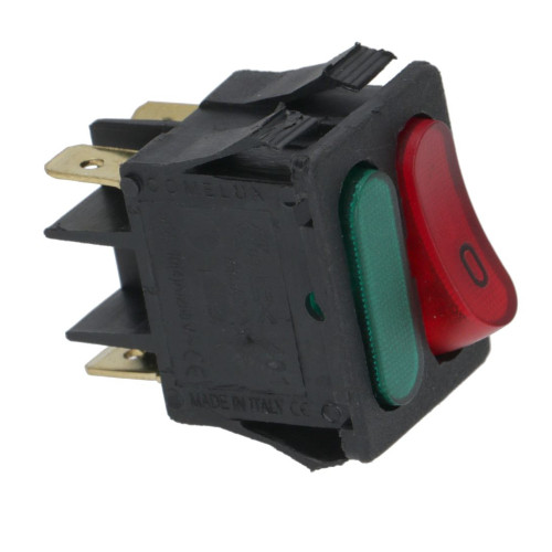 Unipolar Switch Red SPST + Green Lamp 16A 250V 22mmx30mm