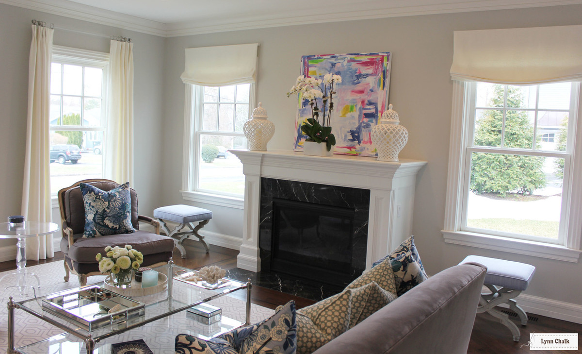 Relaxed Roman Shades And Drapes In Living Room (shown In Off White Linen   ...