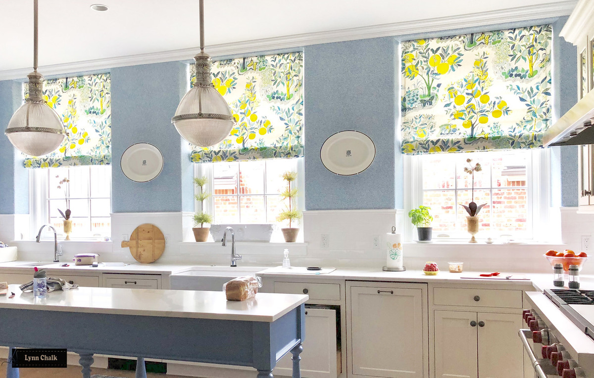 Schumacher Citrus Garden Custom Kitchen Roman Shades (shown In Pool Also  Comes In Primary ...