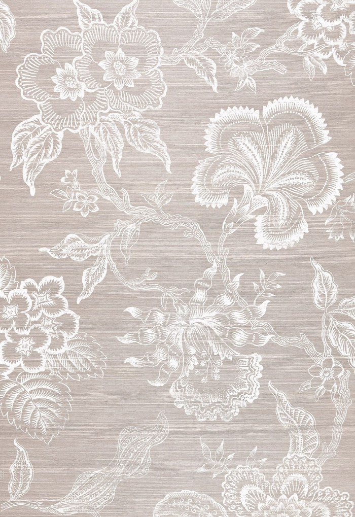 Celerie Kemble for Schumacher Hothouse Flowers Sisal Haze & Chalk Wallpaper (Sold & Priced by the Yard. 16 Yard Minimum-6 Week Lead Time)