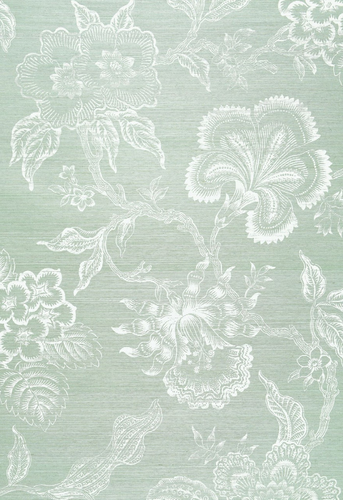 Celerie Kemble for Schumacher Hothouse Flowers Sisal Seaglass & Chalk Wallpaper (Sold & Priced by the Yard. 16 Yard Minimum-6 Week Lead Time)