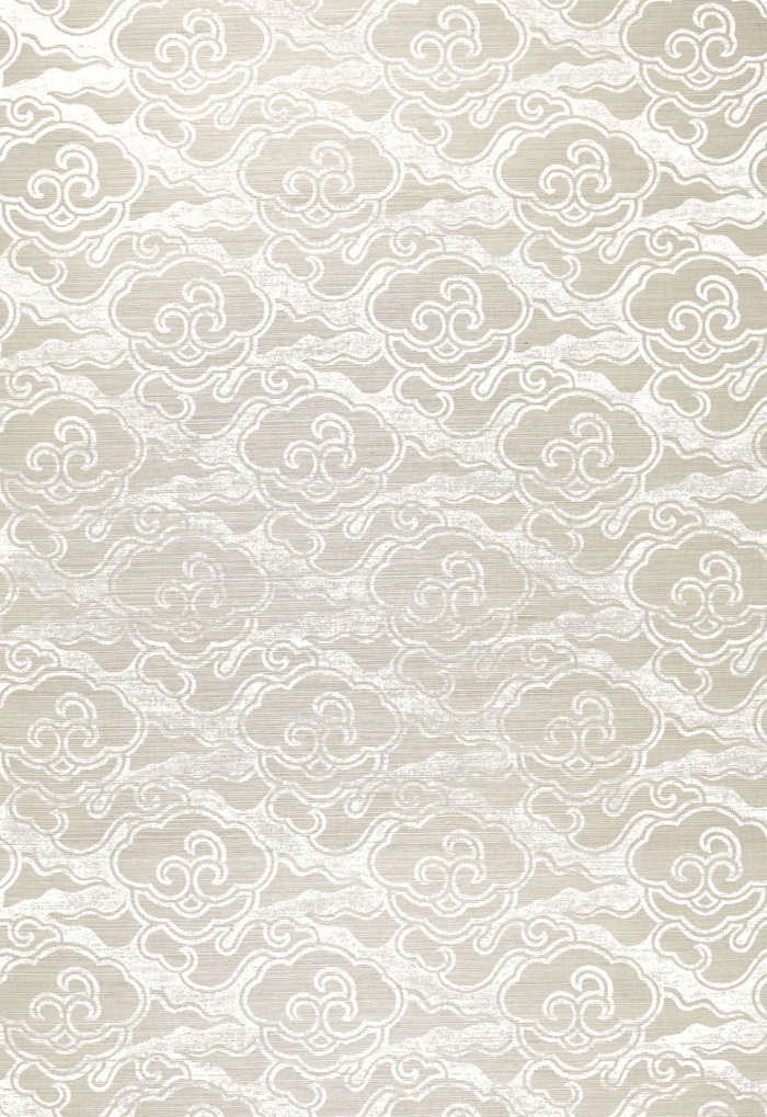 Celerie Kemble for Schumacher Cirrus Clouds Fog & Chalk Wallpaper (Priced and Sold by the Yard. 16 Yard Minimum Order)