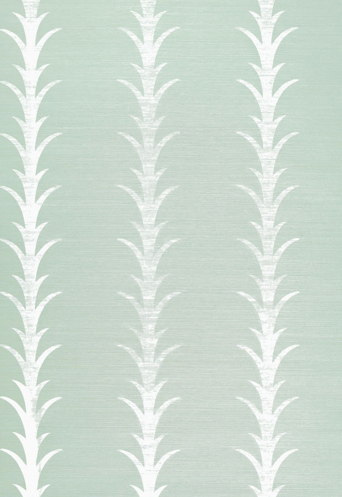 Celerie Kemble for Schumacher Acanthus Stripe Seaglass & Chalk Wallpaper (Priced and Sold by the Yard. Must order in 8 yard increments.  Minimum Order is 8 yards.)