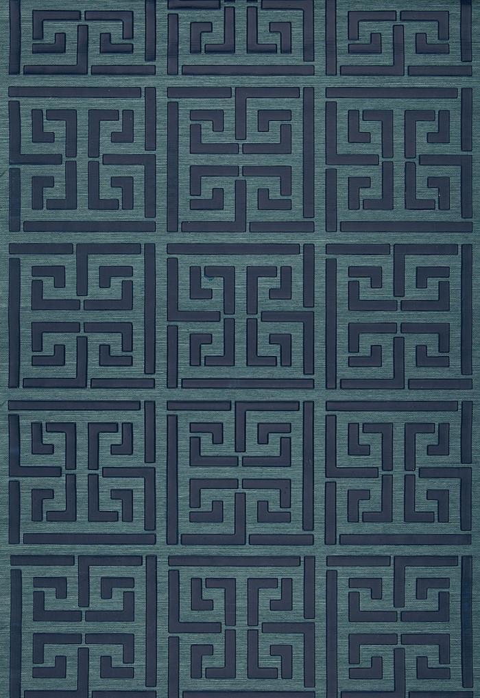 Schumacher Greek Key Sisal Wallpaper Peacock (Priced and Sold by the Yard 32 Yard Minimum)