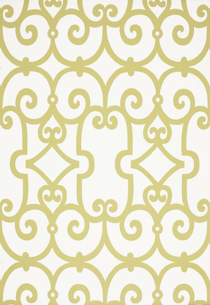 Schumacher Manor Gate Wallpaper Aloe 5005050