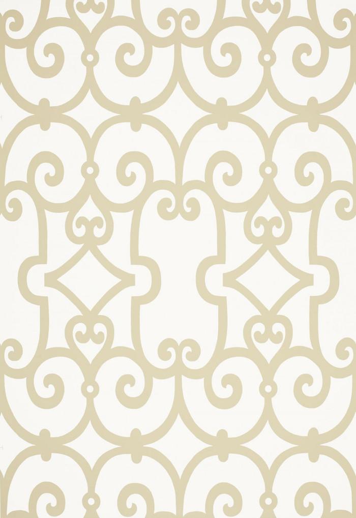 Schumacher Manor Gate Wallpaper Sand 5005052