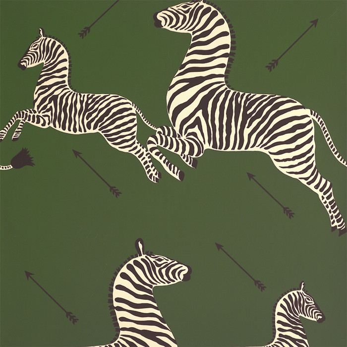 Scalamandre Zebras Wallpaper Seregenti Green - 2 Roll Minimum Order