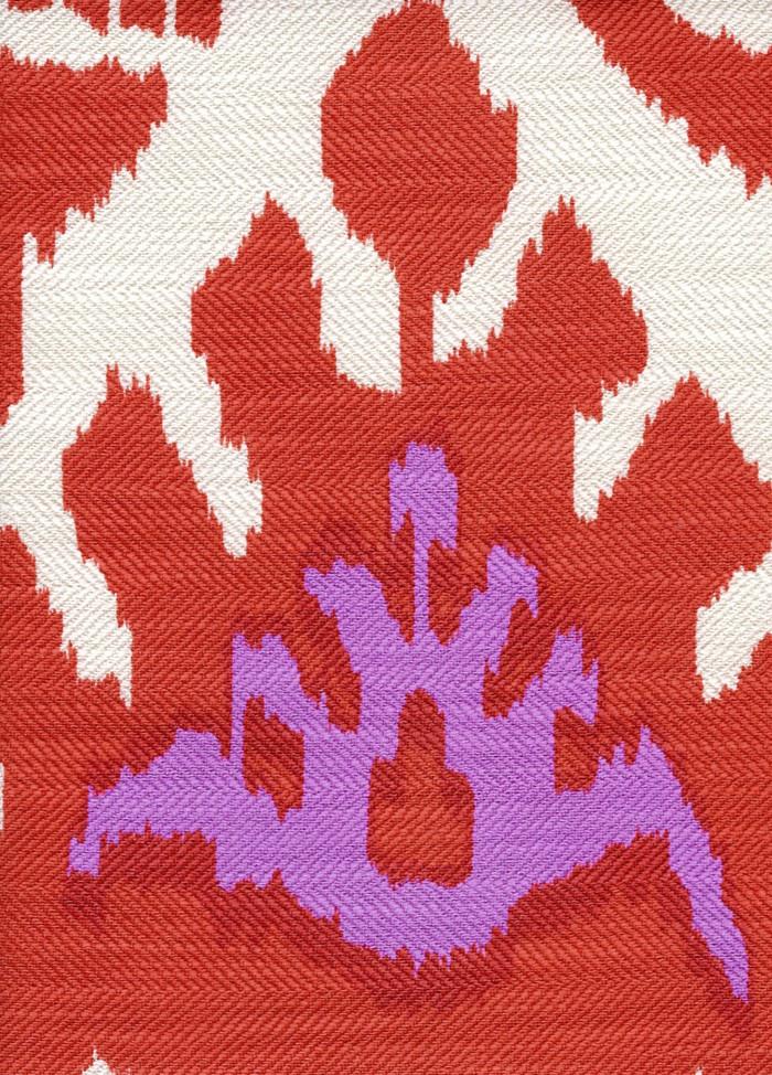 Quadrille Kazak Orange Pink on Tint