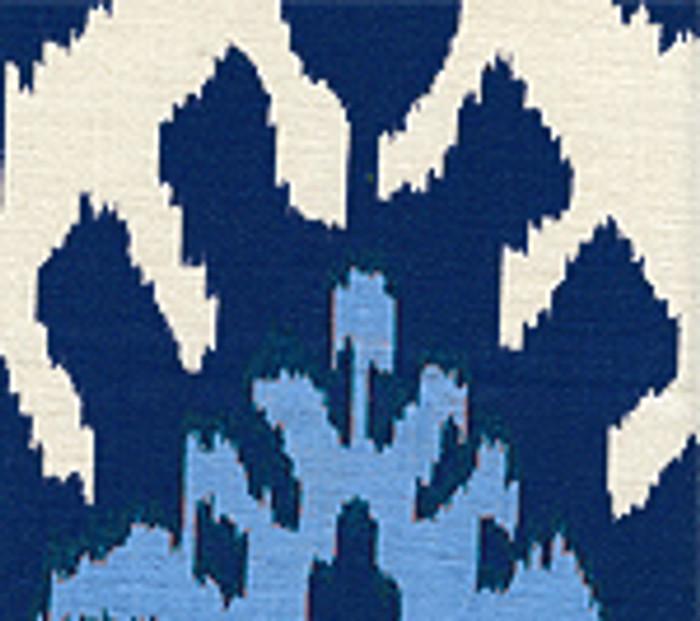Quadrille Kazak Blue on Suncloth (Indoor/Outdoor fabric)