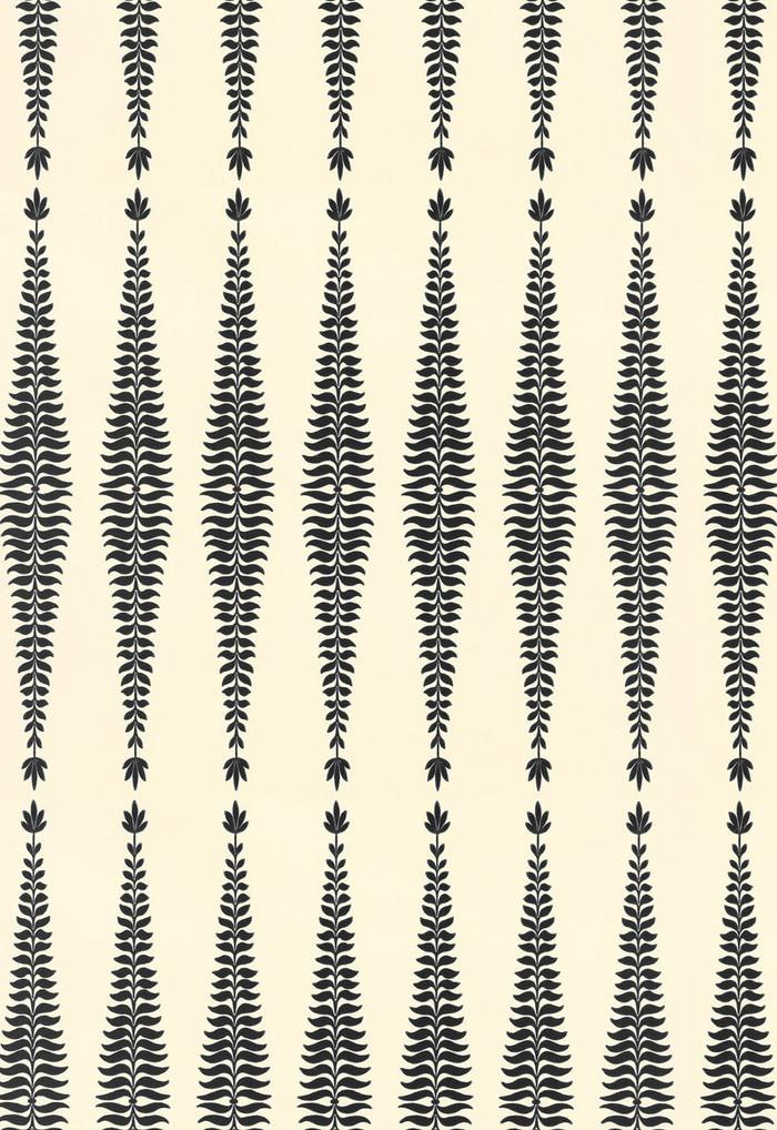 Schumacher Fern Tree Wallpaper in Noir Creme 5005070