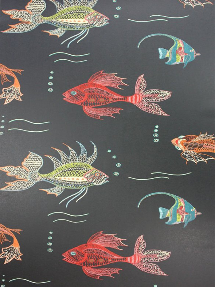 Aquarium Wallpaper Black by Osborne & Little by Nina Campbell Perroquet