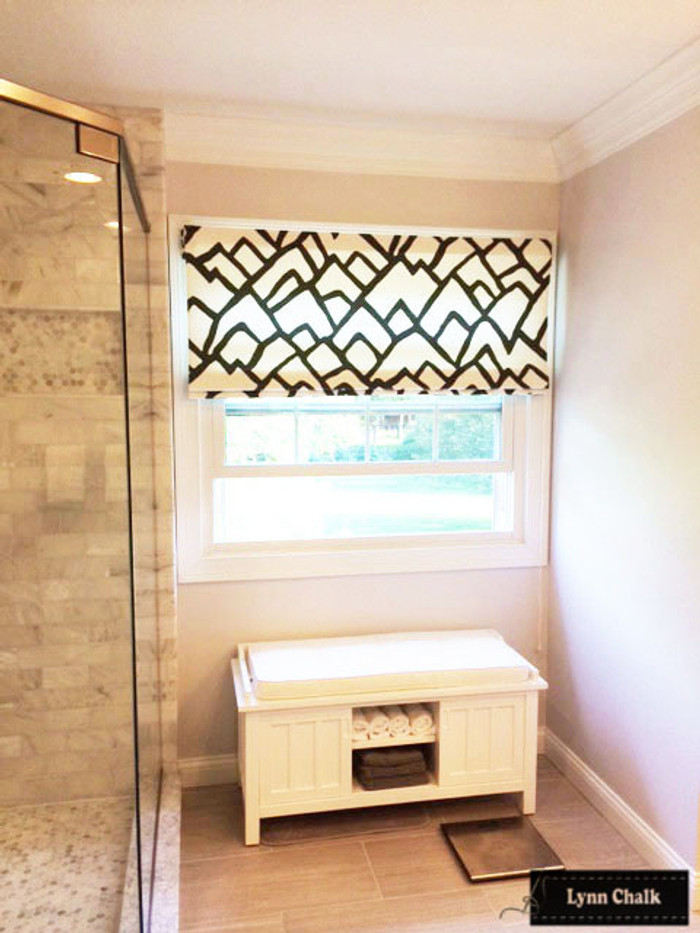 Schumacher Zimba Bathroom Roman Shades in Charcoal (comes in several colors)