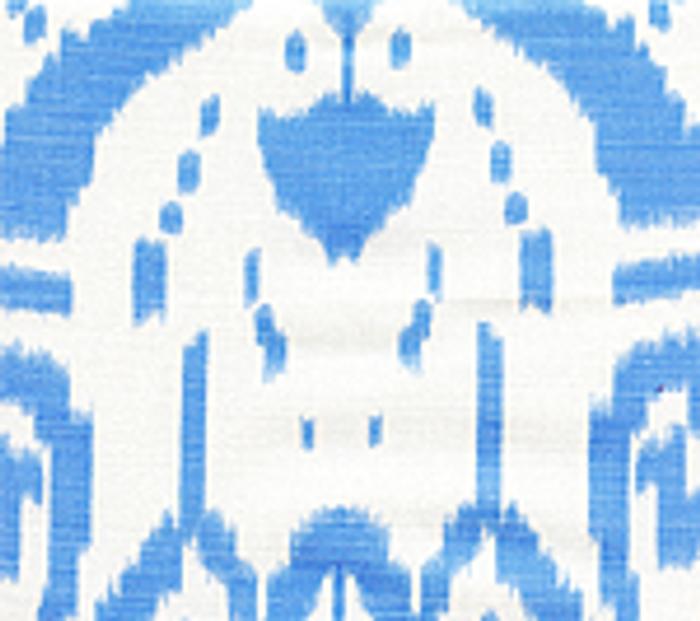 Quadrille China Seas Island Ikat Zibby Blue on White