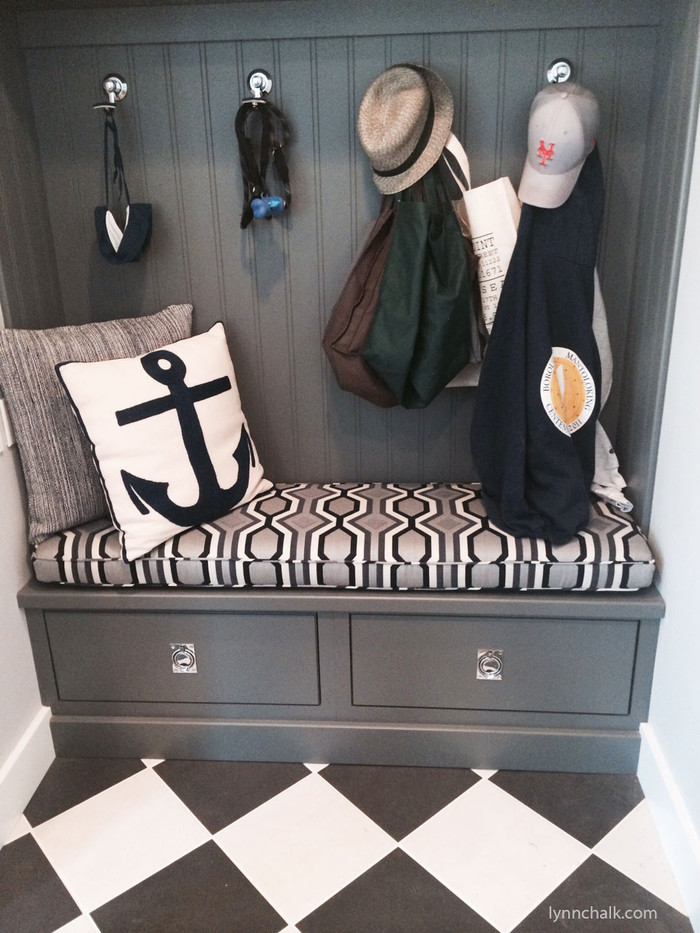 """Custom Cushion by Lynn Chalk in Robert Allen Diamond Vista in Navy  (Picture sent in by client) Cushion in Picture is 59"""" X 17 1/2"""" X 3"""""""