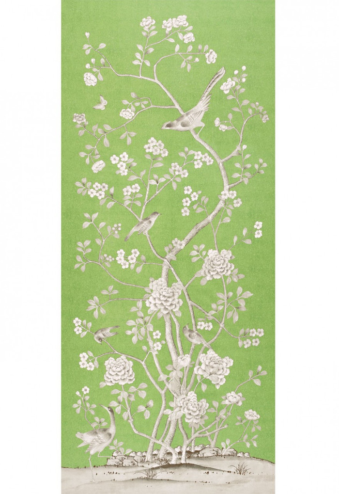 Schumacher Mary McDonald Chinois Palais Lettuce Wallcovering (Priced and Sold by the 4 Yard Full Panel)