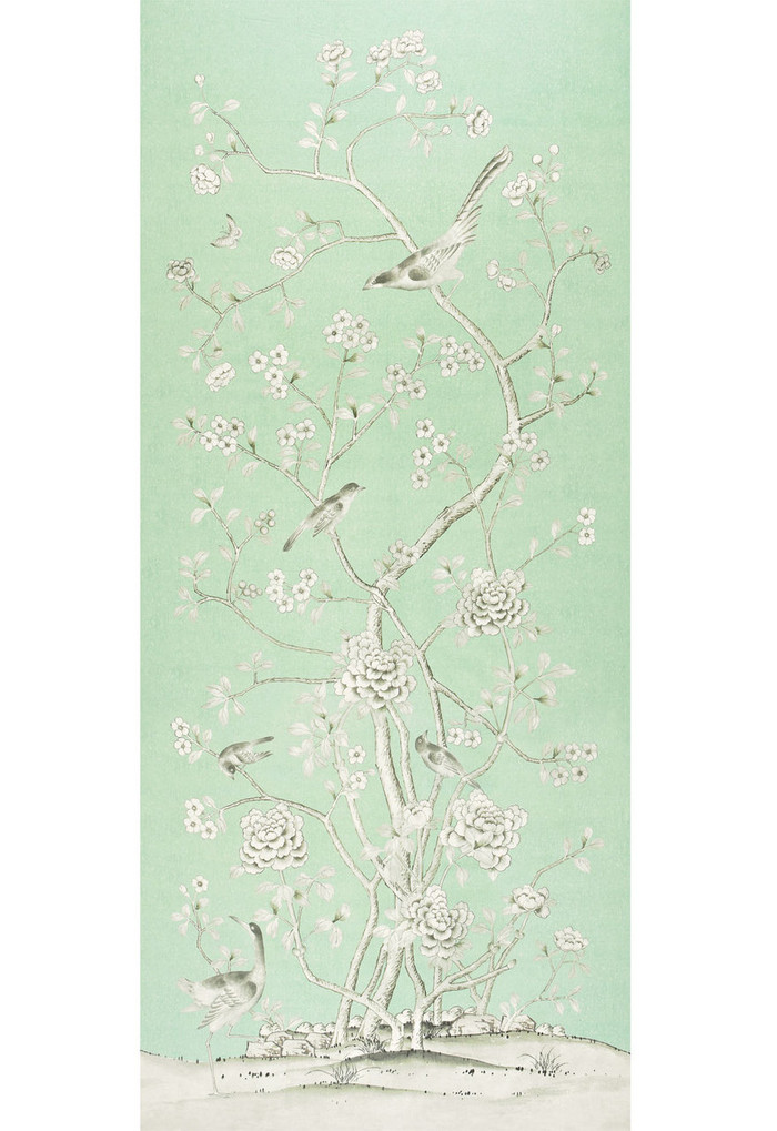 Chinois Palais Wallcovering by Mary McDonald in Aquamarine