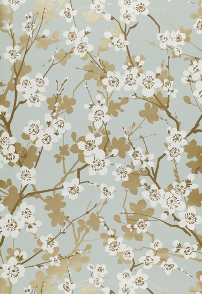 Schumacher Ming Cherry Blossom Wallpaper in Aqua 5001070
