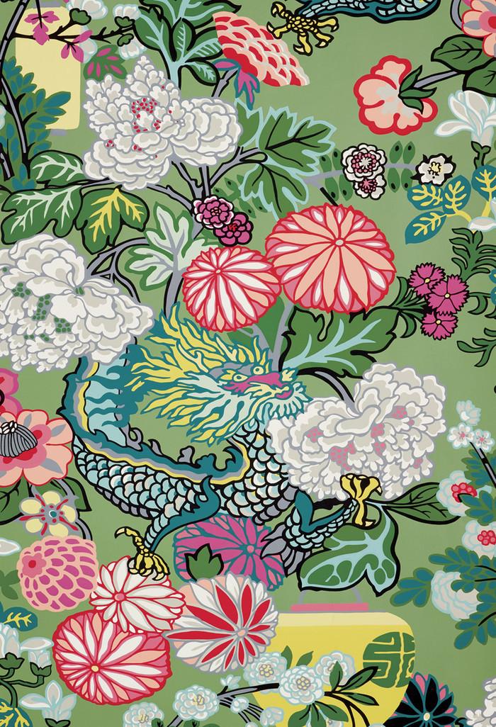 Schumacher Chiang Mai Dragon Jade Wallpaper 5001067