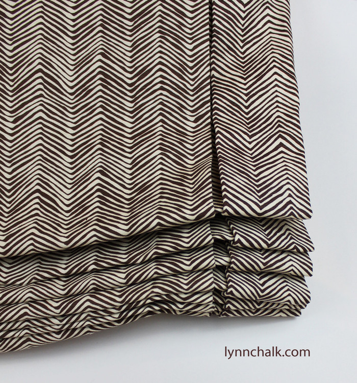 Custom London Style Roman Shades by Lynn Chalk in Quadrille Alan Campbell Petite Zig Zag -New Brown on Tint