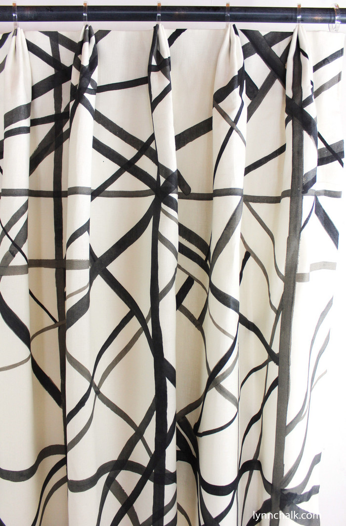 Custom Fan Pleated Drapes by Lynn Chalk in Kelly Wearstler Channels in Ebony/Ivory.