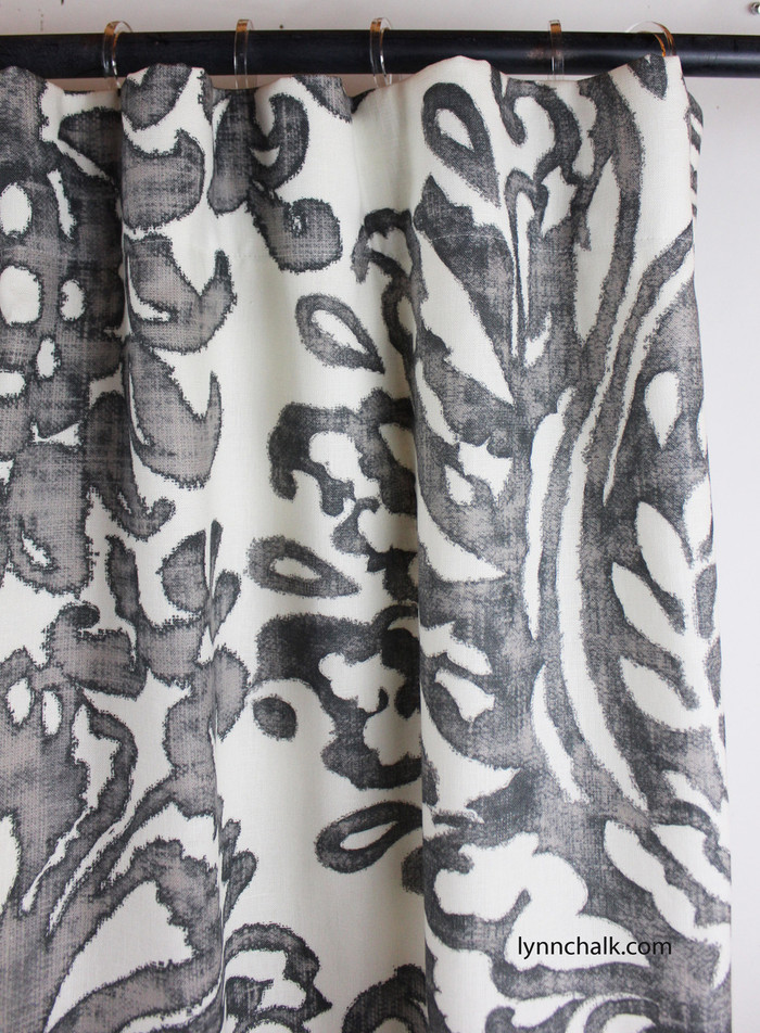 Schumacher Tremezzo Damask Custom Drapes in Graphite (Also comes in Caspian)